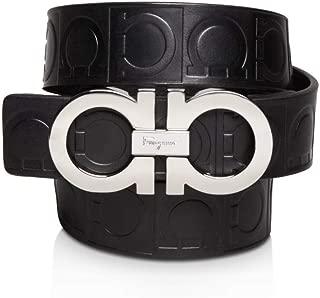 Ferragamo Size 110 Double Stamped Gancini Black Pebbled Leather Belt XE1191 (Black)