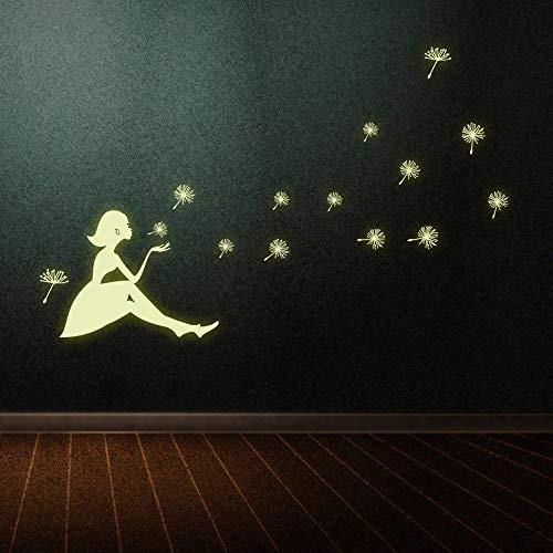 Pegatinas luminosas Dandelion Girl fluorescentes que brillan en la oscuridad decoración de la habitación de la sala de estar pegatinas de pared para habitación de niños/Cocina/oficina/dormitorio/pasillo