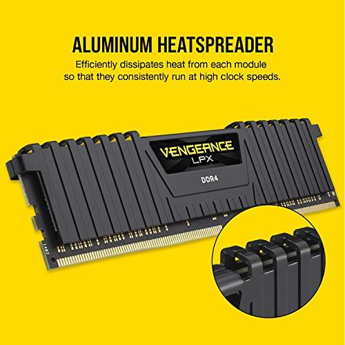 Corsair VENGEANCELPX16GB (2x 8GB) DDR4 3600(Pc4-28800) C181.35V Desktop Memory – Black, dissipatore calore