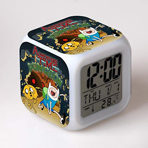 Zhuhuimin Hora de Aventura Reloj Despertador Despertador niño Dibujos Animados Cambio de Color luz Nocturna led Reloj Digital Reloj de Mesa electrónico