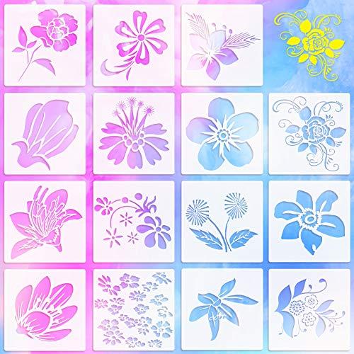 15 Stücke Frühling Themenorientiert Blume Plastik Schablonen Pfingstrose Blume Rose Pflanzmuster Zeichen Vorlagen Schablonen Wiederverwendbare Bastel Schablonen zum Malen Wänden Leinwand, 6 x 6 Zoll