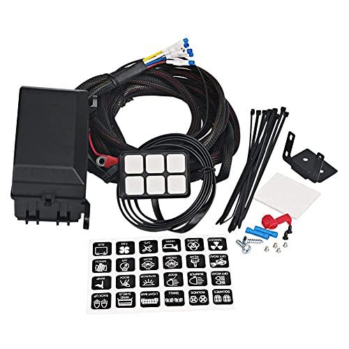 Fangaichen Adecuado para el Coche 6 Panel de interruptores de pandillas Electronic Relay System Cut Circuito Caja de Control Impermeable Fusible Relé Caja de Cableado Arnés Muestrenes para Autos Au