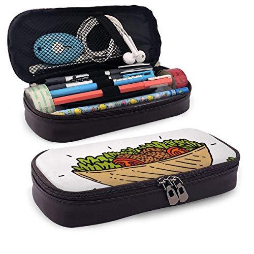 Hand gezeichnete Falafel mit V Egetable Ingredients Weiches Leder Aufbewahrung Bleistiftbeutel Make-up Beutel Beutel Münzbeutel Reißverschluss Stift Taschen Box