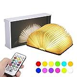 Livre Lampe Pliante, Tomshine Livre Lumineux Bois, 12 couleurs RGB, Télécommande/Timing/Flash Mode, 5 Niveau de luminosité, 360° Pliable, Rechargeable par USB, 3000K, Dimension: 12 * 8.7 * 2.3cm