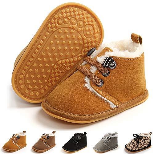 E-FAK Newborn Baby Booties Boys Girls Shoes Winter Warm Fur Lining Anit-Slip Rubber Sole Infant Toddler Prewalker Boots(12-18Months, A/Brown)