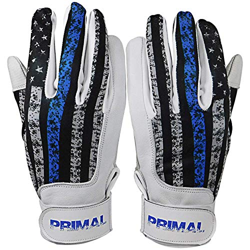 PrimalBaseball USA Blue Line Baseball Batting Gloves for Sports Players - Small