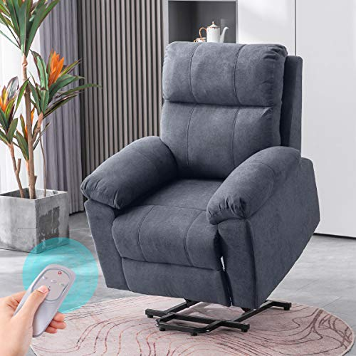 EROMMY Recliner Chair, Recliner with Massage and Heat, Power Lift Chair Electric Recliner Chair for Elderly with Wireless Remote Control, Side, Linen Grey