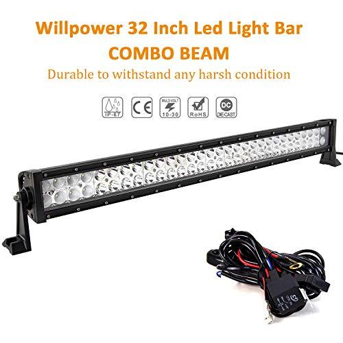 Willpower Barra LED Fuoristrada Barra Luce a Led 81cm 180W Combinazione di Fascio Spot e Inondazione 12V 24V Con Cablaggio Fari LED Luci da Lavoro per Trattore Auto Camion Barca 4x4 ATV