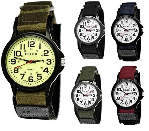 Coole NY London Kinder-Uhr Jungen-Uhr Mädchen-Uhr für Kinder Analog Quarz Textil Nylon Armband-Uhr Schwarz Anthrazit Blau Grün Camouflage Rot Weiß Japanisches Qualitäts Uhrwerk (Camouflage- tarn)