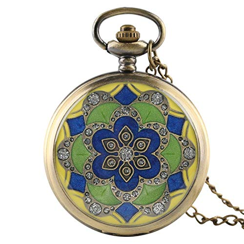 MingXinJia Relojes de Cabecera para el Hogar Reloj de Bolsillo Vintage, Relojes de Bolsillo Antiguos de Jade Verde de Moda para Mujer, Dama, Amiga, Madre, Regalos, Collar, Reloj, Colgante, Reloj con