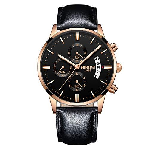 Herrenuhren Nachtleuchtende wasserdichte Mode Quarz Uhren Chronograph Edelstahl oder Lederarmband Armbanduhren für Männer