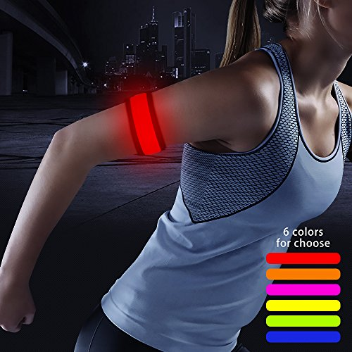 Higo LED Armband, Glow in The Dark Party Favor Led Slap Bracelets, Sports Safety Light Up Wristband for Running, Jogging, Cycling, or Walking(Red 35cm)