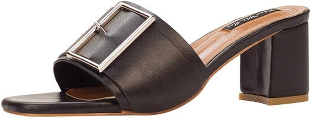 CYBLING Women's Block Heel Slide Sandals Synthetic Leather Slip On Open Back Peep Toe Mules