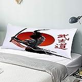 Funda Almohada Cuerpo,Samurai en práctica con músculos Katana Japanese Sun Asian Discipline Image,Funda de Almohada Larga y Suave con Cierre de Cremallera Sofá de Dormitorio Decorativo 20'x 54'