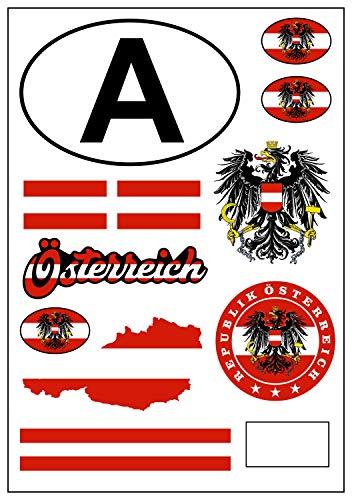aprom Österreich Aufkleber Karte Stickerbogen - PKW Auto Fahne Tuning