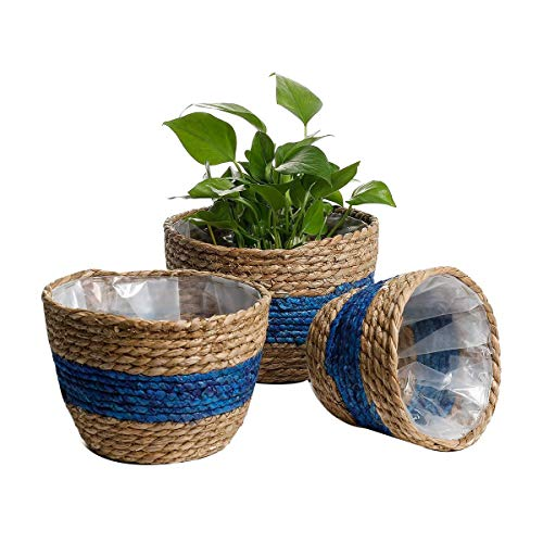 Senmubery Seagrass Plant Basket Set of 3 Woven Basket Indoor Outdoor Storage Flower Pot Cover Home Decor Plant Container