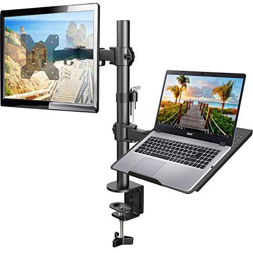 HUANUO Monitor Halterung mit Laptop Arm, Volleinstellbar für 13 bis 27 Zoll LCD LED Bildschirm & max. 15.6 Zoll Notebook, 2 Montageoptionen
