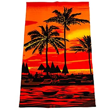 Microfiber Beach Towel Blanket Thick High Color Fastness Super Water Absorbent Beach Towel All-Purpose Durable Soft Large Towels for Travel Swimming Bath Pool Picnic Yoga  Palm tree-Red 55 x 27