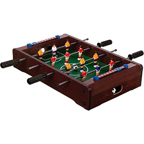 "Maxstore Mini-Tisch-Kicker Tischfussball ""Dundee"", Dunkles Holzdekor, Maße: 51x31x8 cm, Gewicht: 2,6 kg, 4 Spielstangen, inkl. 2 Bälle"