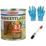 2 in 1 Hartlack Parkettlack, Grundierung und Lackierung inkl. 1 Pinsel von E-Com24 und Nitrilhandschuhe (seidenmatt 750 ml)