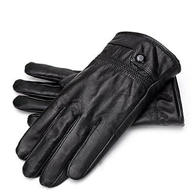 BISON DENIM Luxury Men's Texting Winter Genuine Leather Dress Driving Gloves (Cashmere/Wool/Fleece Lining)