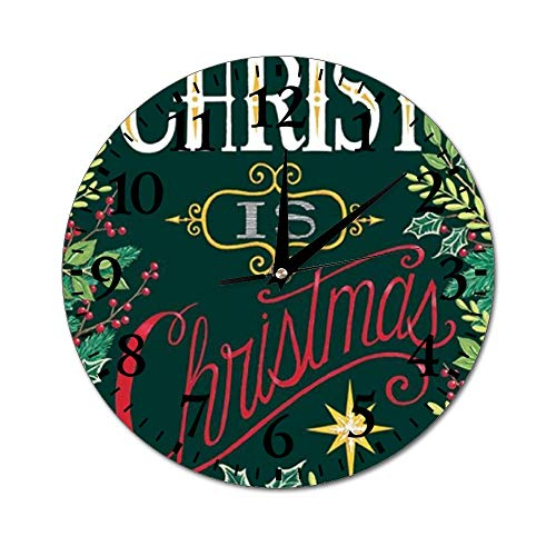 Fhdang Decor Reloj de Pared con diseño de Perros de Navidad, silencioso, Redondo, fácil de Leer, para casa, Oficina, Escuela, 10 Pulgadas