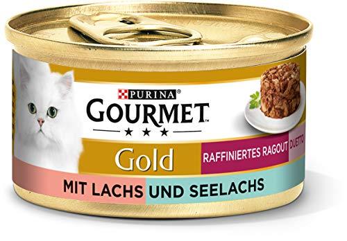 PURINA GOURMET Gold Raffiniertes Ragout Duetto Katzenfutter nass, Lachs und Seelachs, 12er Pack (12 x 85g)