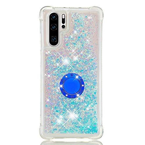 Compatible avec Coque Huawei P30 Pro Liquide Flottant, Étincelle Flottant Fluide Liquide Paillette Housse avec Support Silicone Souple TPU Antichoc Etui Compatible avec Huawei P30 Pro, Étoile Bleu