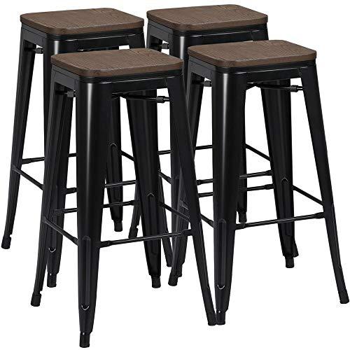 Yaheetech 4 Sgabelli Cucina Bar Alti Moderni in Legno e Ferro Design Industrial Rustico Vintage Neri 76 cm