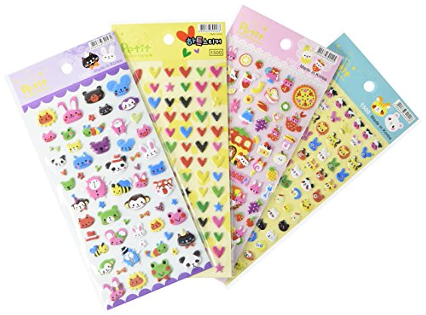 Wrapables Cute Puffy Stickers for Scrapbooking/Stationery/Diary & Album (Set of 4)