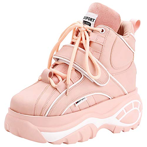 Jamron Mujer Gótico Punk High Top Plataforma Zapatillas Chunky con Cordones Zapatillas de Deporte de Cuña Rosa SN02924 EU38