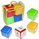 Hahepo Dados blandos, juguetes educativos para jugar a dados de colores, pañuelos de bolsillo de espuma, bloques apilables, juguetes educativos