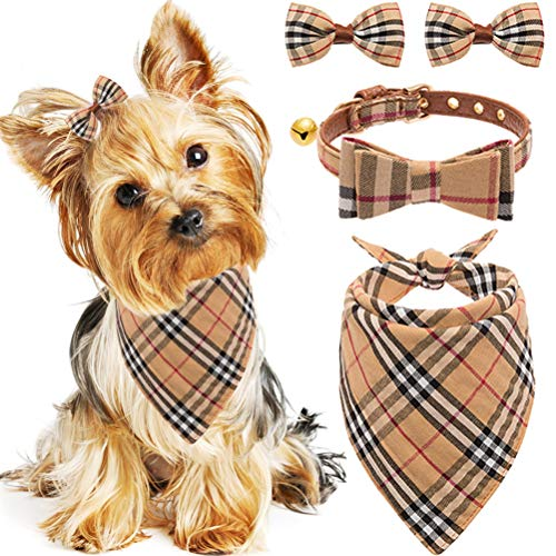 Bow Tie Dog Collar with Bell - Classic Plaid Bandana, Triangle Bibs Scarf Accessories, 2 Pack Pet Hair Bows, for Puppy Cats, Cream