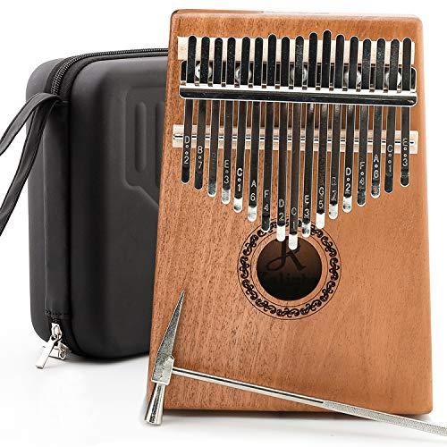 JDR kalimba 17 Keys Thumb Piano,Portable Mbira Finger Piano Gifts with EVA Waterproof Hard Protective Case,Tuning Hammer and Study Instruction