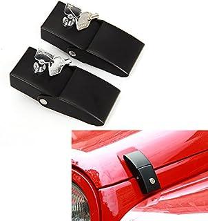 JeCar Steel Hood Latches Lock for Jeep Wrangler 2007-2020 JK JKU JL JLU Rubicon Sahara X Off Road Sport Exterior Accessories (Black 1 Pair)