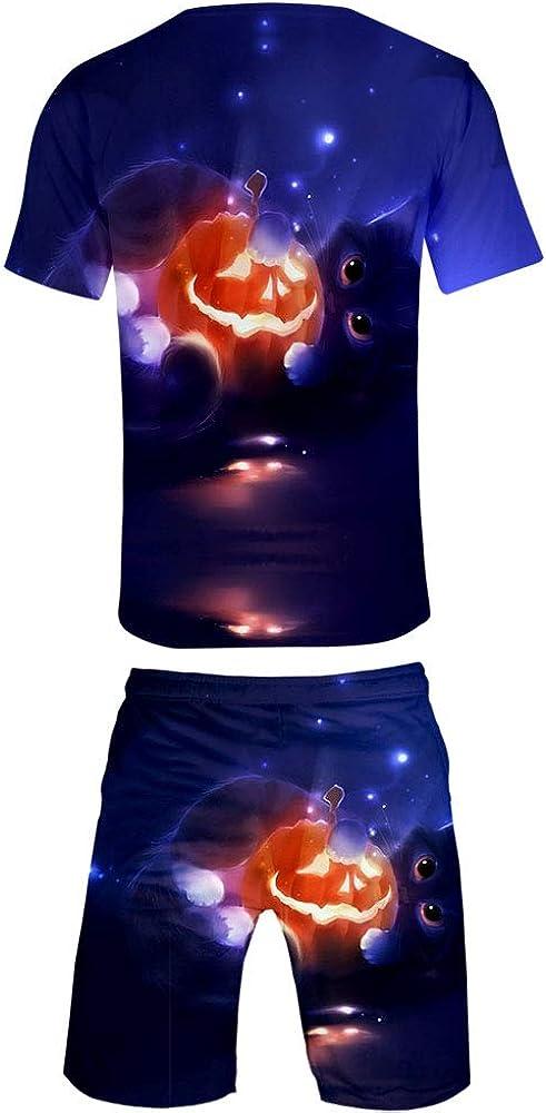 SISAY Ensemble Sport Homme 2 Pieces Short et T-Shirt Imprim/é Halloween YH013Y04WSJB