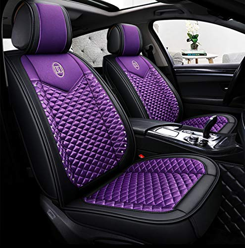 seemehappy Bling Girly Purple Car Seat Covers Full Set for Women Leather and Silk Front and Rear Seat Cushions Universal Fit (Purple-Basic)