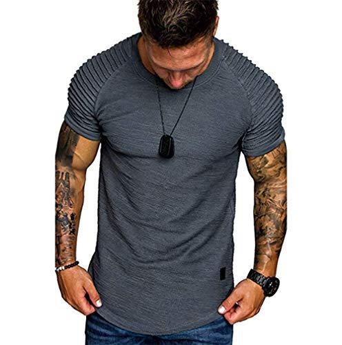 Preisvergleich Produktbild OOFAY T-Shirts Für Herren Herren Sport Freizeit T-Shirt Mit Rundhalsausschnit Fun-T-Shirts, Gray, XXL