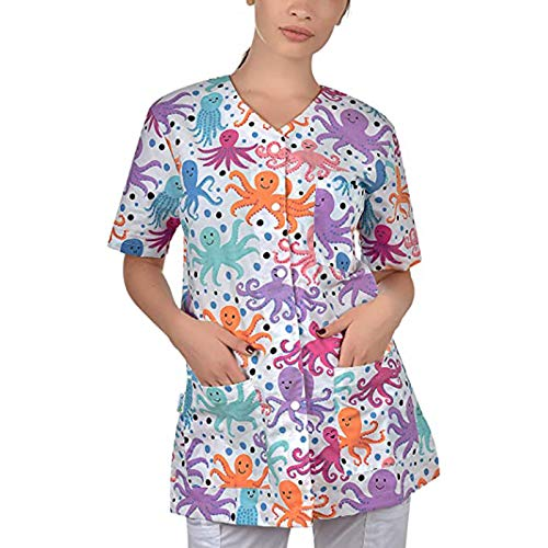Womens Button Down Short Sleeve Pajamas Shirts with Pockets Cute Dog Paw Dragonfly Cartoon Octopus Print Tops Tees Purple