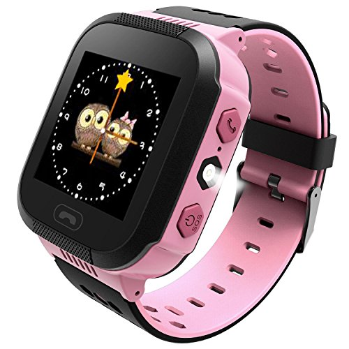 Vailsa Smart Watch for Kids - Smart Watches for Boys Smartwatch GPS Tracker Watch Wrist Android iOS Mobile Camera Cell Phone Best Gift for Girls Children boy (LBS-Pink2)