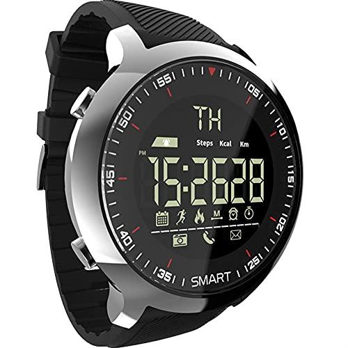 TAIJU Reloj Inteligente, Deporte LCD Pedómetros Impermeables Recordatorio de Mensajes BT Natación, cronómetro SmartWatch para iOS Android (Color : Black)