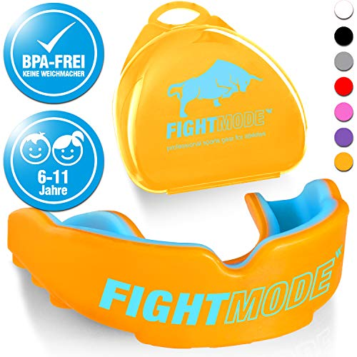 Kinder Sport Mundschutz | 6-11 Jahre, orange/blau für Jungen und Mädchen | Angenehmes Tragegefühl | Zahnschutz mit sicherem Halt im Kampfsport, Boxen, MMA, Kickboxen, Fussball, Handball, Hockey