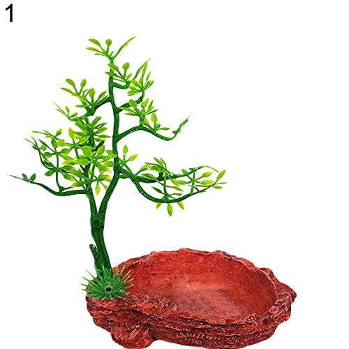 quanjucheer Abreuvoir en résine pour aquarium, reptiles, eau, nourriture, terrarium, décor paysage, 9 cm x 6,5 cm x 14 cm (1#)
