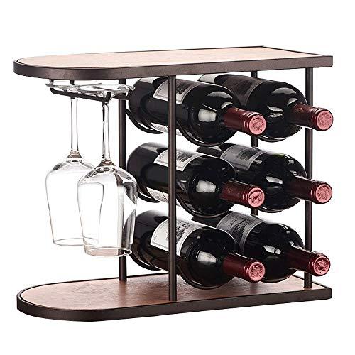 Botellero casual para vino, soporte independiente y moderno diseño minimalista para bodega sótano (color: madera, tamaño: 40 x 18,5 x 32 cm)