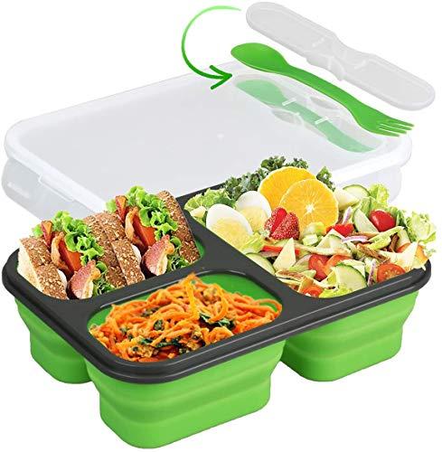Collapsible Silicone Bento Box MomHiu 3-Compartment Eco Silicone Collapsible Bento Lunch Box Kit Space Saving BPA Free for Traveling Camping Dishwasher Microwave Refrigerator