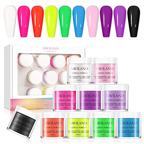 Saviland Acrylic Powder set - Neon Acrylic Nail Powder Set,10 Fluorescent Color Professional Polymer Kit Nail Extension for Nail Art