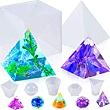 6 Pieces Big Pyramid Resin Mold with Sphere, Triangular Cone, Round Cone, Diamond Shape, Small Pyramid Silicone Resin Mold Jewelry Making Craft Mold for DIY Craft Ornament and Home Decoration