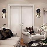 240 & deg;Lampada da parete industriale regolabile con gabbia metallica con interruttore e spina per cavo Lampada da parete stile vintage Edison Illuminazione da parete rustica E27 per comodino, por
