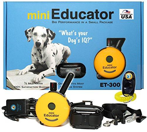 Bundle of 2 Items - E-Collar - ET-300 - 1/2 Mile Remote Waterproof Trainer Mini Educator - Static, Vibration and Sound Stimulation Collar With PetsTEK Dog Training Clicker Training Kit