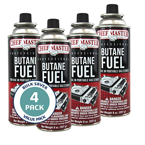 Chef Master 90340 | Pack of 4 Butane Fuel Cylinders| 8oz Butane Canisters for Portable Stove | Butane Torch Replacement Canisters